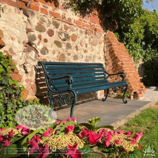 Gartenmöbel Gartenbank Gusseisen und Holzauflage LYON-FR