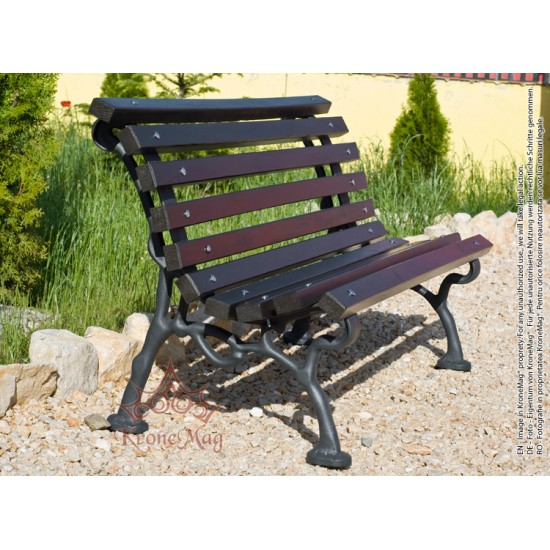 Parkbank,Sitzbank mit Rückenlehne aus Gusseisen und Holzauflage 706