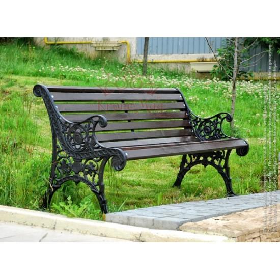 Parkbank,Sitzbank mit Rückenlehne aus Gusseisen und Holzauflage OSLO