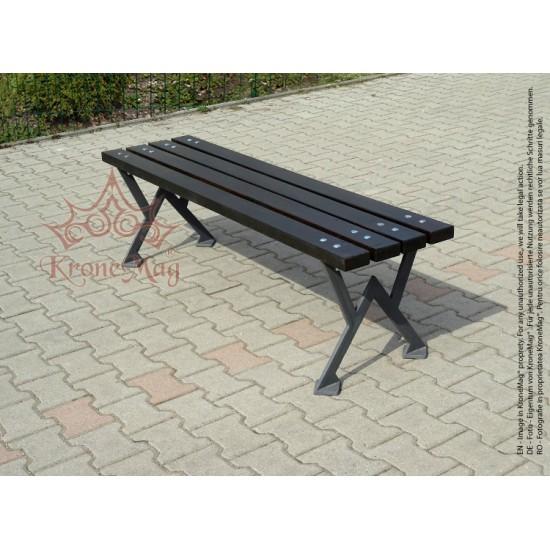 Parkbank, Sitzbank ohne Rückenlehne aus Gusseisen und Holzauflage WIGAN-FR