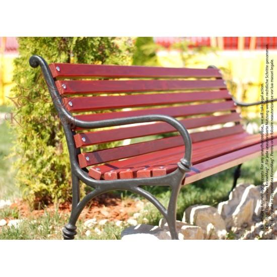 Gartenmöbel Gartenbank Gusseisen und Holzauflage VARNA 2