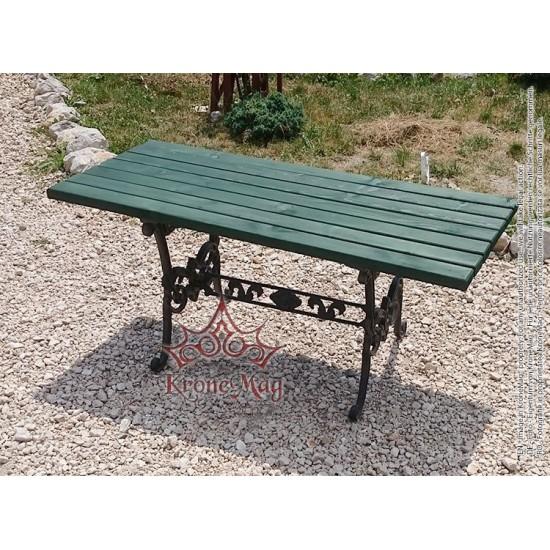 Gartentisch, Terrassentisch aus Gusseisen und Holz LYON-M