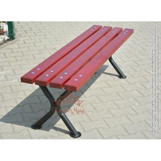 Parkbank, Sitzbank ohne Rückenlehne aus Metall mit Holz UTAH-OR