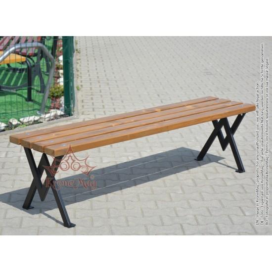 Parkbank, Sitzbank ohne Rückenlehne aus Metall mit Holz MALOTT-OR